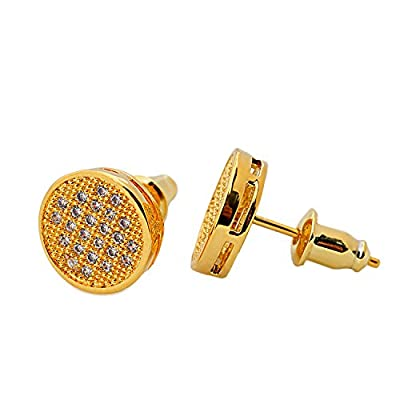 BALA Cubic Zirconia Stud Earrings for Men Guys Big Round Surgical Steel Post White, Black Gold Pave Diamond Hypoallergenic for Sensitive Ears 8mm,10mm