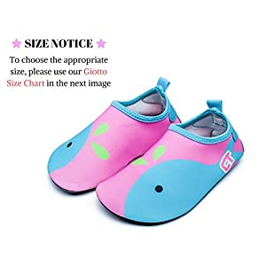 Giotto Kids Non Slip Barefoot Water Shoes Aqua Socks For Swim Beach Pool (Toddler/Little Kid/Big Kid), Pink/Blue, 28-29