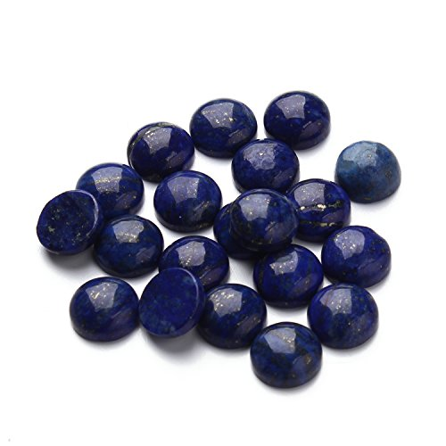 Linsoir Beads Blue Lapis Lazuli Cabochon Round/Oval Shape Blue Gemstone Natural Stones for DIY Jewelry Making Stone 10 pcs/lot