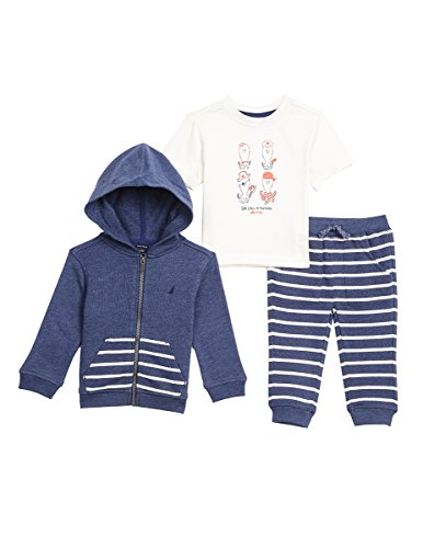 - Nautica Baby Boys' Fleece Hoodie, Short Sleeve Tee, and Twill Pant Set, Retro Blue, 24 Months
