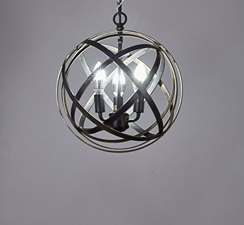 New Legend Pivoting Interlocking Rings Sphere 3-Light Pendant Chandelier, Antique Black (New Style Light)