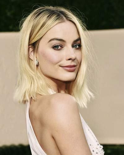 Margot Robbie beautiful smiling pose in off-shoulder white dress 8x10 Promotional Photograph