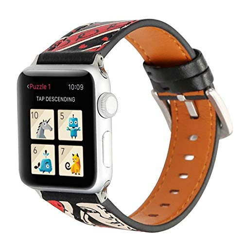 Sunbona for Apple Smart Watch 1/2 Bracelet Strap 42mm, Durable Leather Colorful Pattern Printing Adjustable Sports Replacement Bangle Wrist Band Men Gifts (J)