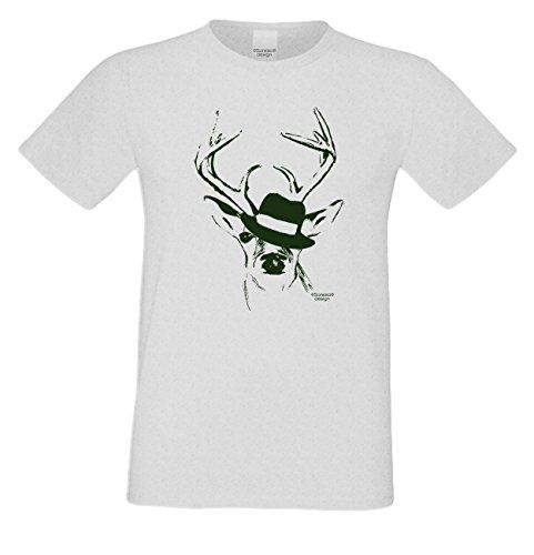 Wiesn T-Shirt - Trachten Hirsch mit Hut grün Shirt Farbe grau - lustiges Funshirt ideal für's Oktoberfest statt Lederhose und Dirndl