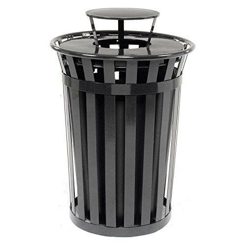 Global Industrial 36 Gallon Outdoor Metal Slatted Trash Receptacle with Rain Bonnet Lid, Black ()