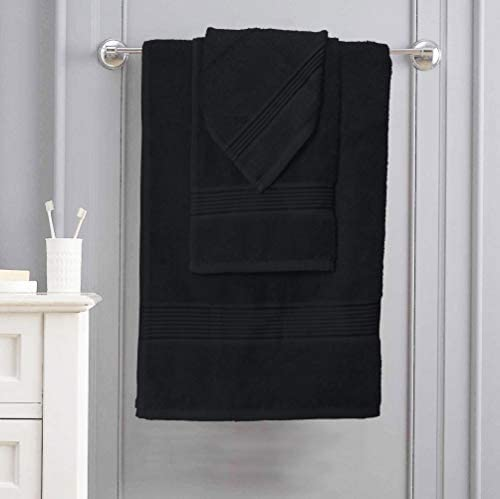 Elvana Home Ultra Soft 6 Pack Cotton Towel Set, Contains 2 Bath Towels 28x55 inch, 2 Hand Towels 16x24 inch & 2 Wash Coths 12x12 inch, Ideal for Everyday use, Compact & Lightweight - Black