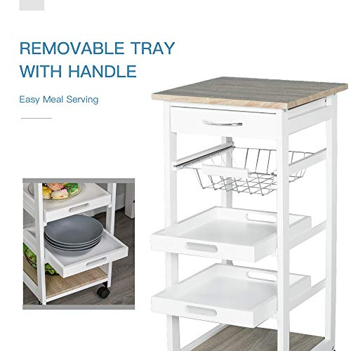 HOMCOM Mobile Rolling Kitchen Island Trolley Serving Cart with Underneath Drawer & Slide-Out Wire Storage Basket, White