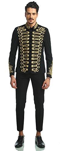 Pizoff Men's Luxury Gold Slim Fit Stylish Suit Blazer Jacket Long Sleeve Formal Dress AD001-03-S by Pizoff (Image #3)