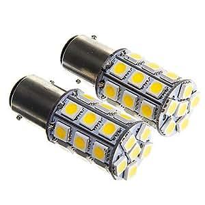 11576W 27x 5050SMD blanco cálido bombilla para coche de luz de freno (12V DC 2unidades)