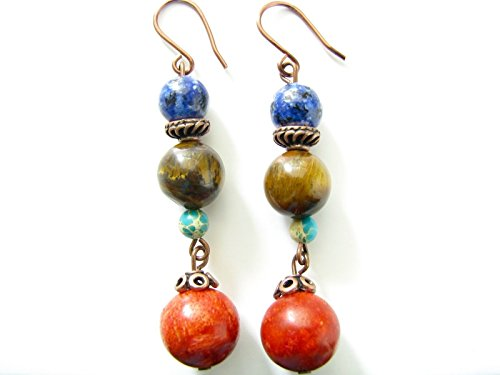 Brown Tiger Eye Red Coral Dangle Earrings Blue Gemstones Multicolor Stone Jewelry (Tigers Jasper Earrings Eye)