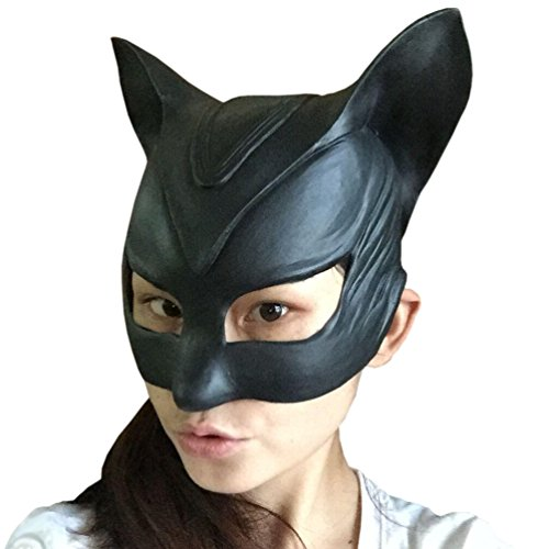 KINGMAS Catwoman Latex Mask Halloween Lady Cosplay Costume Mask Prop (Lady Costume Mask)