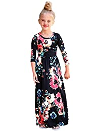 Toddler Baby Girls Long Sleeve Floral Print Casual Ankle-Length Maxi Dresses