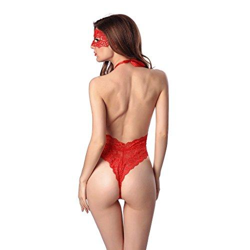 FLH Atractiva ropa interior extremadamente tentadora Tease apasionado traje de encaje erogeno ( Color : Negro , Tamaño : XL ) Rojo