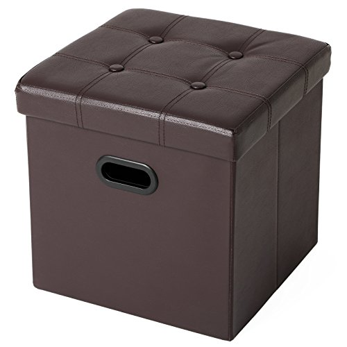 (SONGMICS Folding Storage Ottoman, Cube Footrest, Puppy Step, Coffee Table with Hole Handles, Max. Static Load 660 lb, Faux Leather, Brown ULSF30Z)