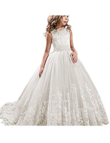 GU ZI YANG Girls Toddler Pageant Dresses for Teens Party Flower Girls Dress 50 (White Dress For Teenager)