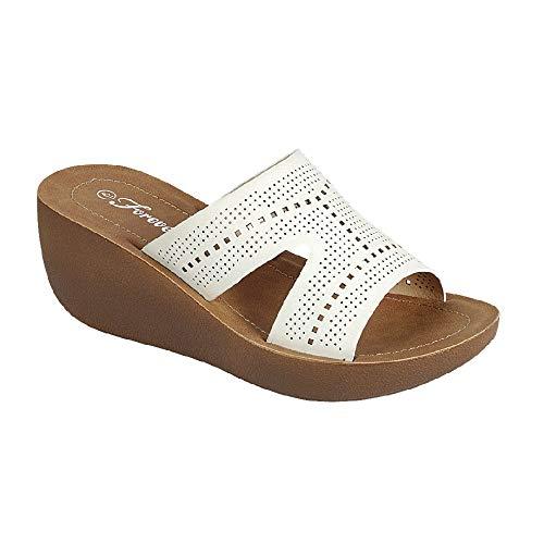 (Z. Emma Women's Peep Toe Slip On Heeled Wedge Platform Sandals Flip Flop Summer Slide Slippers WG22 White 8.5)