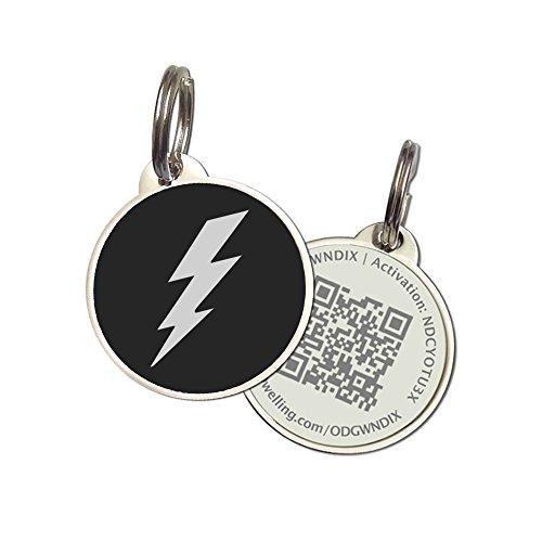 (PetDwelling Lightning QR Code Pet ID Tag w/Online Pet Profile/Scanned GPS Location)