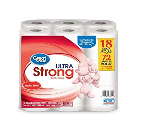 Great Value Ultra Strong Toilet Tissue Paper, 18 Mega Rolls (Value Toilet Great)