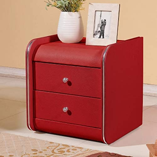 BJLWTQ Nightstands Locker Leather Bedside Table Bedside Table with Drawer Storage Cabinet, Multiple Colors Available Color Red