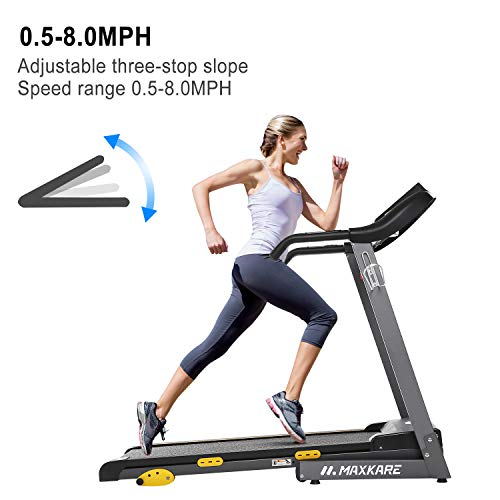 MaxKare Treadmill with 15 Pre-Set Programs, 2.5HP Power, 17'' Wide Tread Belt, 8.5 MPH Max Speed, LCD Screen, Cup Holder & Wheels, Easy Assembly, Black by MaxKare (Image #4)
