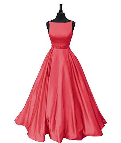 Staypretty Prom Dresses Long Satin Beaded A-line Formal Dress for Women with Pockets 2019 Coral Size 6