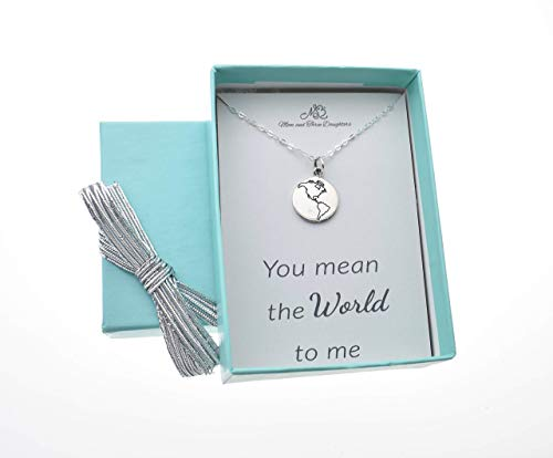 Girls, teens or womens etched whole world charm pendant in sterling silver on a 18
