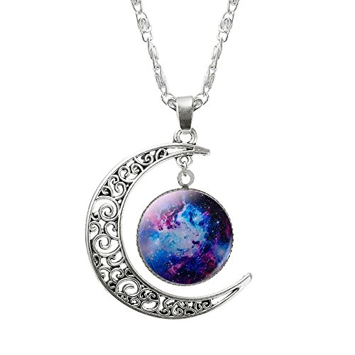 [Fashion Jewelry Choker Necklace Glass Galaxy Lovely Pendant Silver Chain Moon Necklace Free] (Pepsi Baby Halloween Costume)