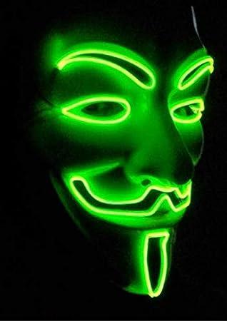 SOUTHSKY Nueva V Vendetta Mascara con la Moda Brillante, Hierba fría luz Verde para la