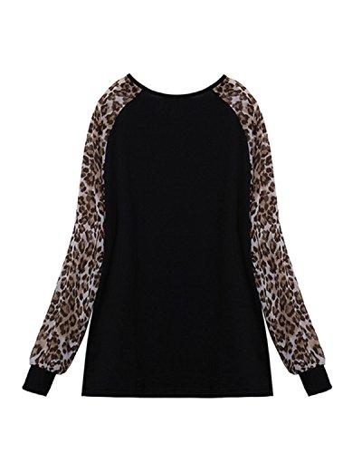 ZANZEA Mujeres Camiseta Con Manga Larga Cuello Redondo Impreción Blouses Tops Pullover Sudadera Negro
