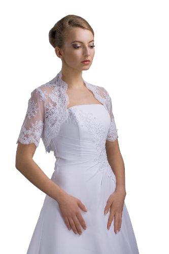 Bolero Weiß Jacke zum Braut aus Spitze Brautkleid ME86 ZqOPB