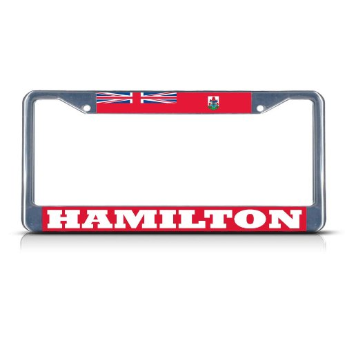 Hamilton Bermuda (BERMUDA HAMILTON Chrome Heavy Duty Metal License Plate Frame Tag Border)