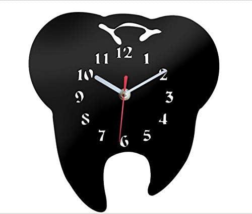 Black Easyinsmile Modern Minimalist Wall Clock Tooth-Shaped Acrylic Mute Dental Decoration Ornament Wall Clock Creative Mirror Wall Clock