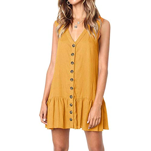 - Gahrchian Women Dress V Neck Button Dress Sleeveless Party Dress Ruffle Beach Dress Office Work Skirts Dress Orange