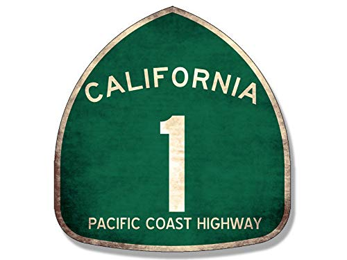MAGNET 4x4 inch VINTAGE Pacific Coast Highway 1 Sign Shaped Sticker - route one pch old Magnetic vinyl bumper sticker sticks to any metal fridge, car, signs