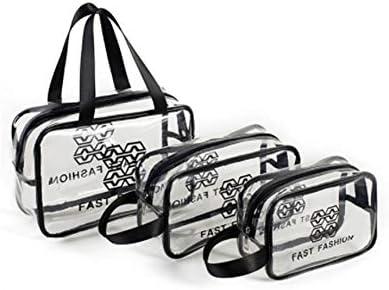 、収納袋、ウォッシュバッグ水泳、3pcsのをジッパーと旅行のためのポータブルトイレタリーバッグクリア防水コスメティックバッグオーガナイザーポーチ旅行やハンドル