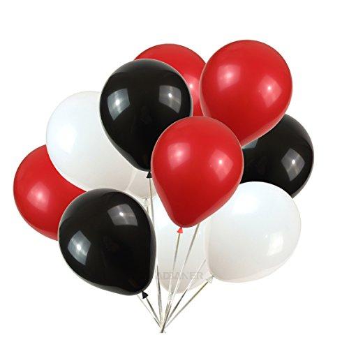 KADBANER Latex Balloons 100 pcs 3 Colors Party Set (Black White Red) ()