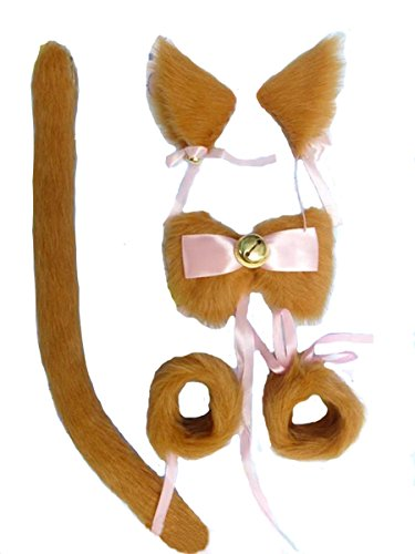 Angelaicos Unisex Wire Inside Handmade Long Hair Faux Fur Cat Tail Bracelets Bow Tie Hairclips Sets