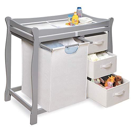 Mesa para cambiar pañales Unidad de masaje para bebés con cambiador de madera con almacenamiento de cajones, estación de...