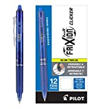 Pilot FriXion Clicker Retractable Erasable Gel Pens Fine Point (.7) Blue Ink Dozen Box; Make Mistakes Disappear, No Need For White Out. Smooth Lines to the End of Page, America's #1 Selling Pen Brand