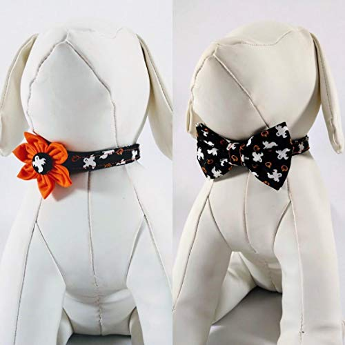 Halloween Dog Collar With Flower Or Bow Tie - Ghost And Pumpkin Pattern - Adjustable Sizes For Small To Large Dogs, XSmall, Small, Medium, Large, XLarge