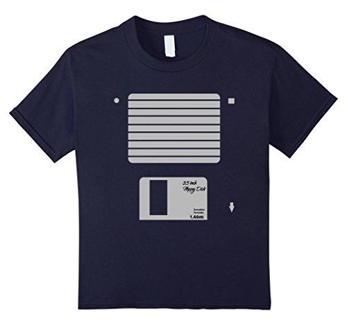 Geek Costumes For Halloween (Kids USB Floppy Disk Geek Computer Nerd Halloween Costume T-Shirt 8 Navy)