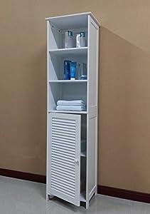 Nice Homecharm Intl 15.8x11.8x60.6 Inch Tower Storage Cabinet  Louvered,White(HC 044)