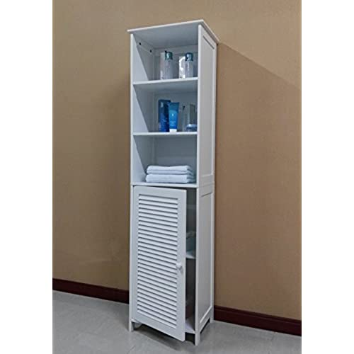Awesome Homecharm Intl 15.8x11.8x60.6 Inch Tower Storage Cabinet  Louvered,White(HC 044)