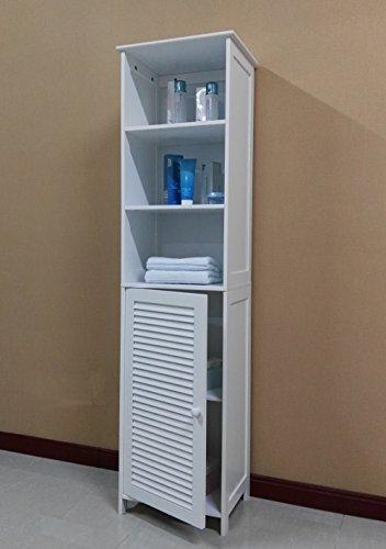 Homecharm-Intl 15.8x11.8x60.6-Inch Tower Storage Cabinet Louvered,White(HC-044)