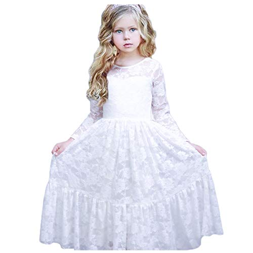 CQDY Lace Flower Girl Dress Long Sleeves Princess Communion Dresses for 2-13T (White Baby 0-6M(68CM Height), White)]()