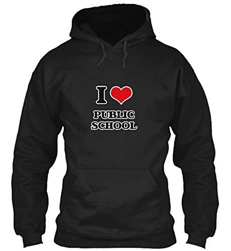 Wedwugui I Love Public School Sweatshirt - Gildan 8oz Heavy Blend Hoodie Fashion Design -