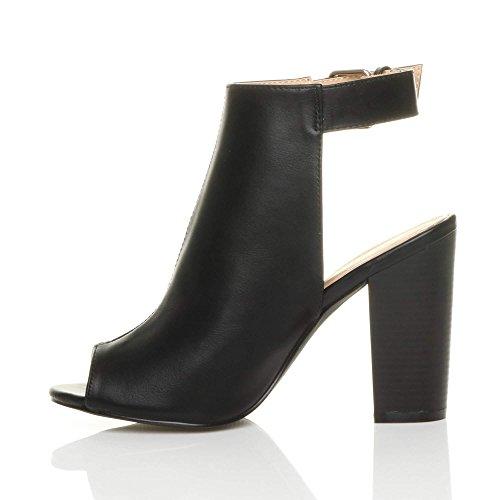 Bout Peep Boucle Femmes Ouvert Bottines Pointure Sandales Chaussures Hauts Toe Noir Talons qqEBI