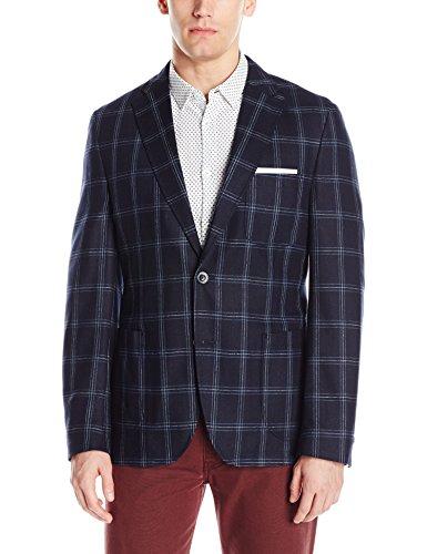 (Kroon Men's White 100% Silk Italian Window Pane Fabric, Navy, 46 Regular)