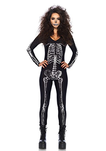 Leg Avenue Women's X-Ray Skeleton Catsuit Costume, Black/White, Large