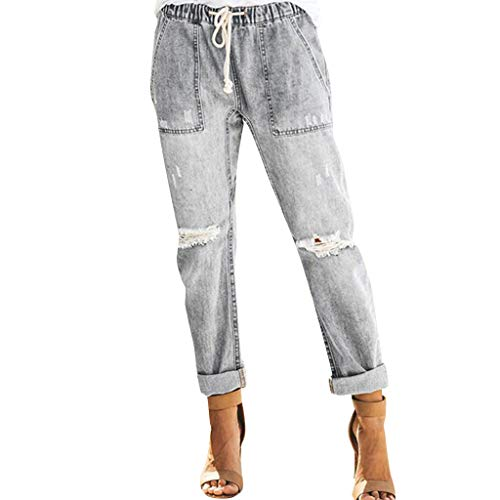 UOFOCO Pull-on Distressed Denim Jeans Women Joggers Elastic Waist Stretch Pants Gray